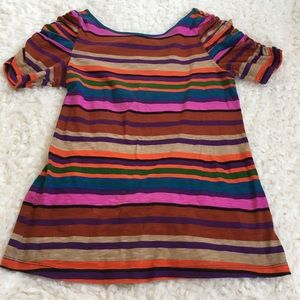Anthropologie striped shirt with ruched sleeves